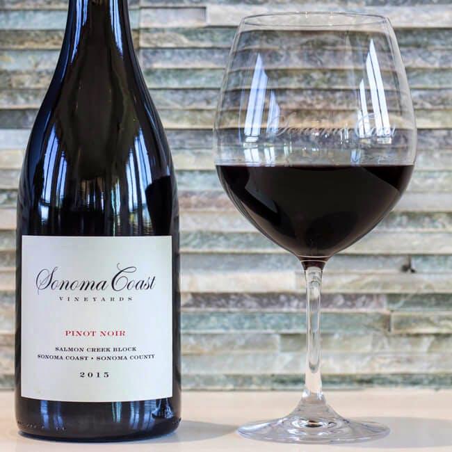 Sonoma Coast Vineyards Pinot Noir Bottle with wine glass